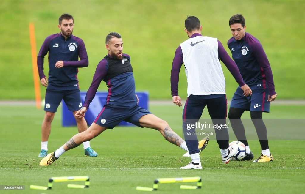 Nicholas Otamendi during Manchester City training at Etihad Campus on August 11, 2017 in Manchester, England.