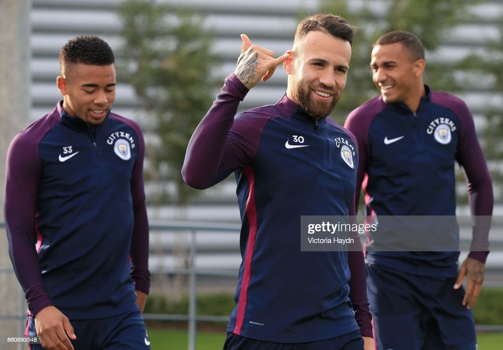 Nicholas Otamendi reacts during training at Manchester City Football Academy on October 12, 2017 in Manchester, England.