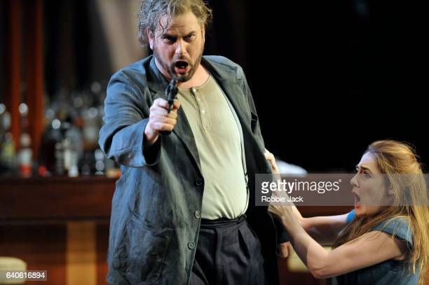 Nicholas Pallesen as Rigoletto and Sydney Mancasola as Gilda in the English National Opera's production of Giuseppe Verdi's Rigoletto directed by...