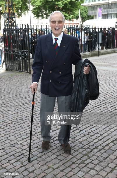 Nicholas Parsons attends a memorial service for comedian Ronnie Corbett at Westminster Abbey on June 7 2017 in London England Corbett died in March...