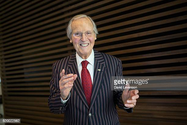 Nicholas Parsons radio and television presenter photographed at the FT Weekend Oxford Literary Festival on April 9 2016 in Oxford England