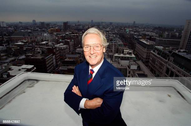 Nicholas Parsons TV Presenter and actor pictured on a roof top 17th May 1994