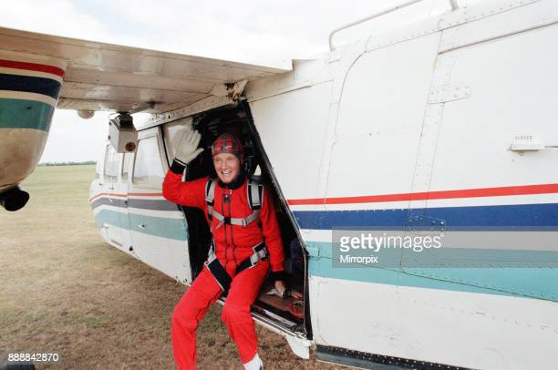 Nicholas Parsons TV Presenter and actor preparing for a tandem skydive 17th September 1991