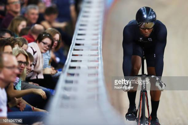 Nicholas Paul of Trinidad and Tobago in action during his Men's Sprint Qauterfinals round with Jack Carlin of Great Britain during Day Three of the...