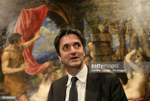 Nicholas Penny Director of the National Gallery stands infront of Titian's 'Diana and Actaeon' at the National Gallery London