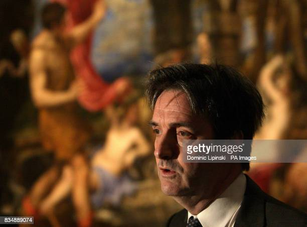 Nicholas Penny Director of the National Gallery talks to the media infront of Titian's 'Diana and Actaeon' at the National Gallery London