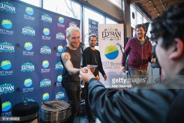 Nicholas Petricca of Walk The Moon accepts a gift from a fan during an EndSession hosted by 1077 The End at Elysian Capitol Hill on February 16 2018...