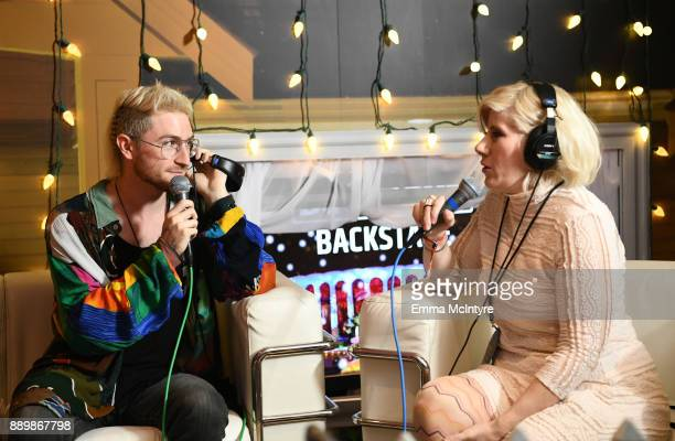 Nicholas Petricca of Walk the Moon speaks to KROQ DJ Kat Corbett during an interview at KROQ Almost Acoustic Christmas 2017 at The Forum on December...