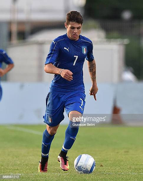 Nicholas Pierini of Italy U19 in action during the international friendly match between Italy U19 and Croatia U19 at on August 11 2016 in Manzano...