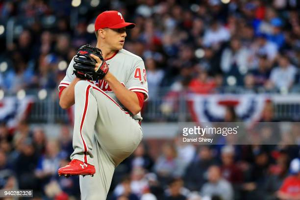 Nicholas Pivetta of the Philadelphia Phillies pitches during the first inning against the Atlanta Braves at SunTrust Park on March 30 2018 in Atlanta...