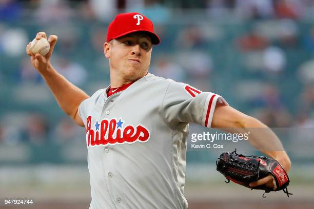 Nicholas Pivetta of the Philadelphia Phillies pitches in the first inning against the Atlanta Braves at SunTrust Park on April 17 2018 in Atlanta...