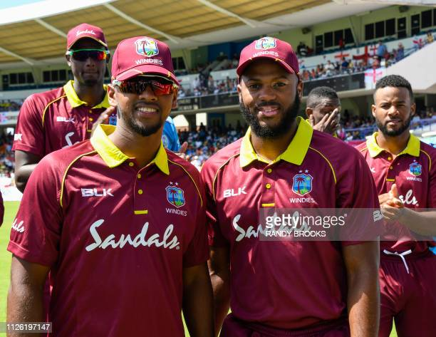 Nicholas Pooran and John Campbell of West Indies pose on debut for the 1st ODI between West Indies and England at Kensington Oval Bridgetown Barbados...