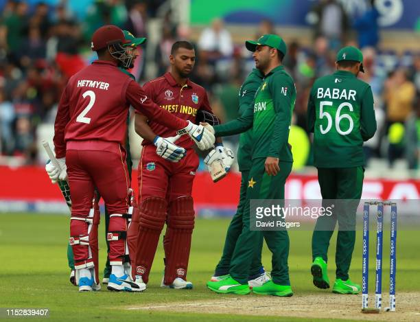 Nicholas Pooran and Shimron Hetmyer of the West Indies celebrate after being Pakistan during the Group Stage match of the ICC Cricket World Cup 2019...