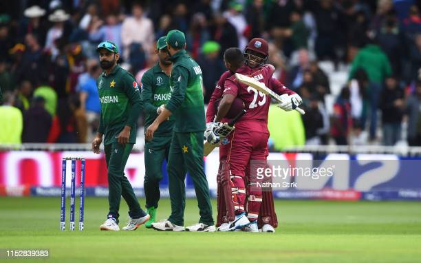 Nicholas Pooran and Shimron Hetmyer of West Indies celebrate after they beat Pakistan during the Group Stage match of the ICC Cricket World Cup 2019...