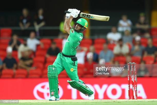 Nicholas Pooran of the Stars bats during the Big Bash League match between Sydney Sixers and the Melbourne Stars at Metricon Stadium, on December 26...