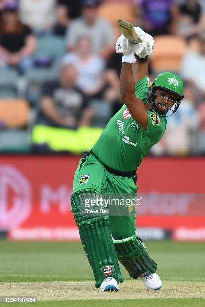 Nicholas Pooran of the Stars bats during the Big Bash League match between the Hobart Hurricanes and the Melbourne Stars at Blundstone Arena, on...