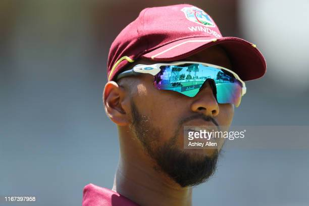 Nicholas Pooran of the West Indies during the second MyTeam11 ODI between the West Indies and India at the Queen's Park Oval on August 11, 2019 in...