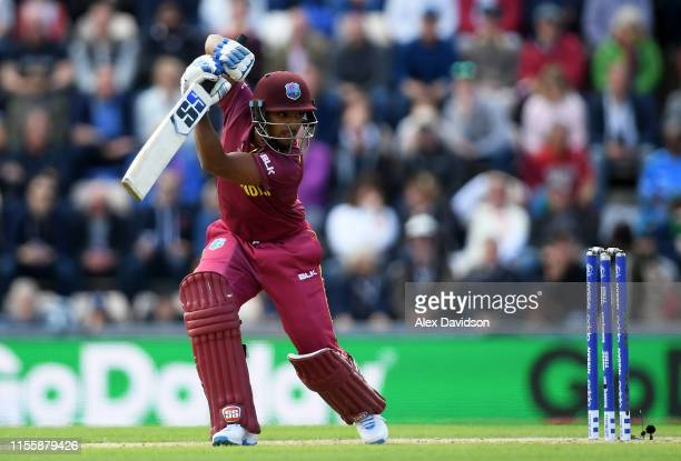 Nicholas Pooran of West Indies bats during the Group Stage match of the ICC Cricket World Cup 2019 between England and West Indies at The Hampshire...
