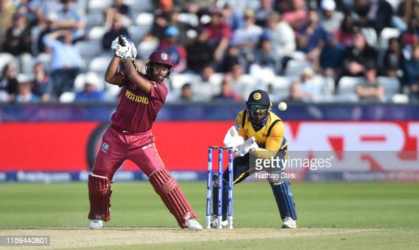 Nicholas Pooran of West Indies bats during the Group Stage match of the ICC Cricket World Cup 2019 between Sri Lanka and West Indies at Emirates...