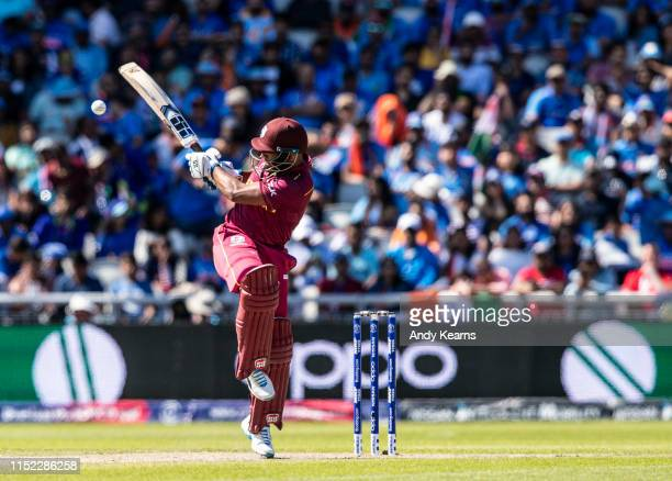 Nicholas Pooran of West Indies batting during the Group Stage match of the ICC Cricket World Cup 2019 between West Indies and India at Old Trafford...