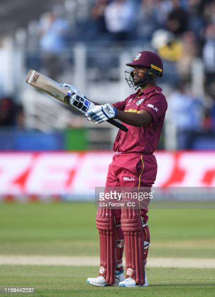 Nicholas Pooran of West Indies celebrates his century during the Group Stage match of the ICC Cricket World Cup 2019 between Sri Lanka and West...