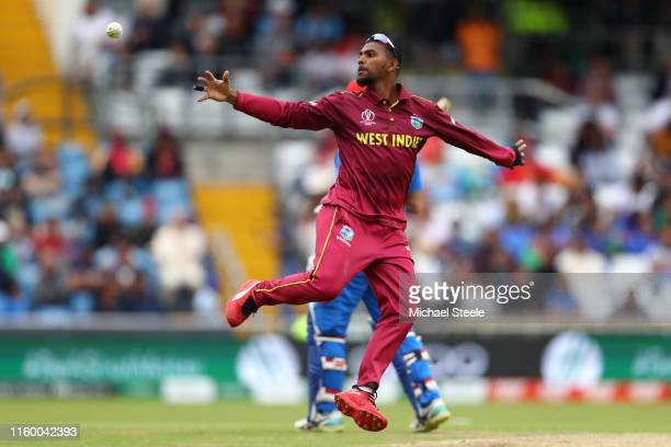 Nicholas Pooran of West Indies fields during the Group Stage match of the ICC Cricket World Cup 2019 between Afghanistan and West Indies at...