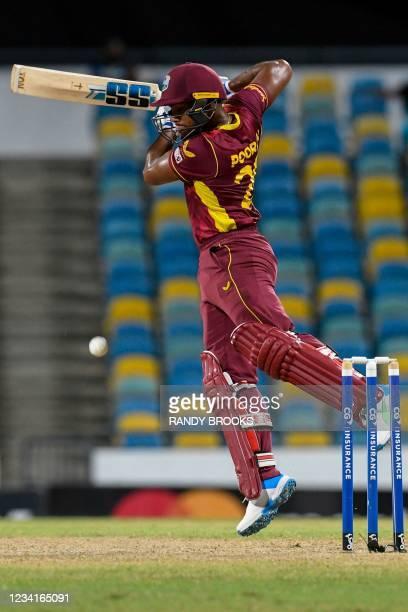 Nicholas Pooran of West Indies is seen during the 2nd ODI between West Indies and Australia at Kensington Oval, Bridgetown, Barbados, on July 24,...