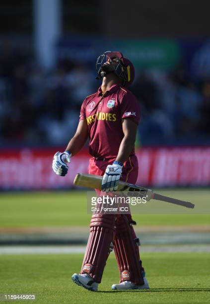 Nicholas Pooran of West Indies walks off after being dismissed during the Group Stage match of the ICC Cricket World Cup 2019 between Sri Lanka and...