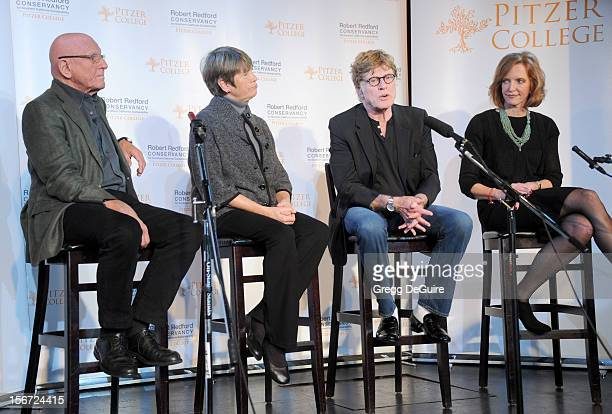 Nicholas Pritzker Susan Pritzker actor Robert Redford and Pitzer College President Laura Skandera Trombley attend the naming of Pitzer College's new...