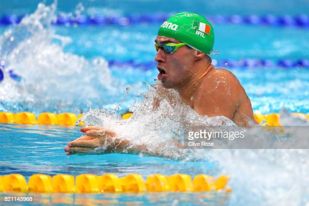 Nicholas Quinn of Ireland during the Men's 100m Breaststroke heats on day ten of the Budapest 2017 FINA World Championships on July 23 2017 in...