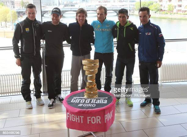 Nicholas Roche Cadel Evans Rigoberto Uran Michelle Scarponi Nairo Quintana and Joaquin Rodriguez during a press conference at Belfast Waterfront Hall...