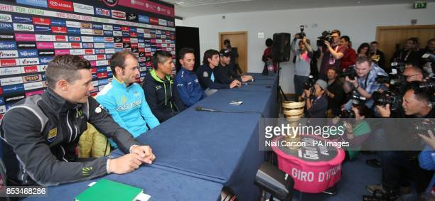 Nicholas Roche Michelle Scarponi Nairo Quintana Joaquin Rodriguez Rigoberto Uran and Cadel Evans during a press conference at Belfast Waterfront Hall...