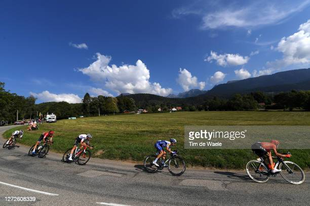 Nicholas Roche of Ireland and Team Sunweb / Warren Barguil of France and Team Arkea Samsic / Tiesj Benoot of Belgium and Team Sunweb / Julian...