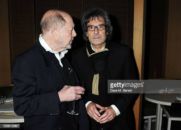 Nicholas Roeg and Ian La Frenais attend Charles Finch and Evgeny Lebedev's dinner for film and art on October 20, 2010 in London, England.