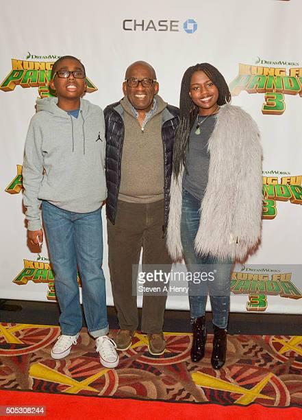 Nicholas Roker Al Roker and Leila Roker attend a screening of Kung Fu Panda3 at AMC Loews Kips Bay 15 theater on January 16 2016 in New York City