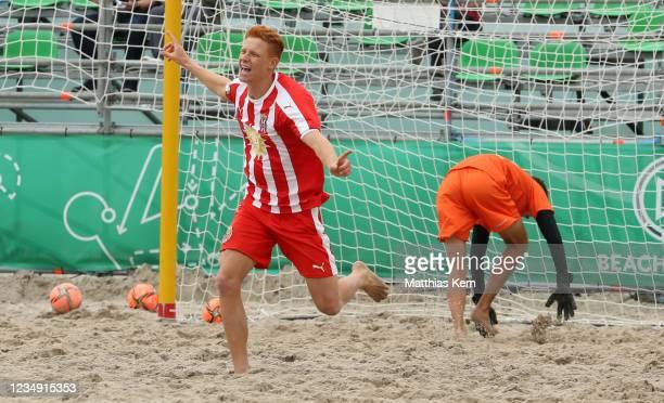Nicholas Sand of Duesseldorf celebrates after scoring a goal during the German Beachsoccer Championship semi final match between Bavaria Beach Bazis...