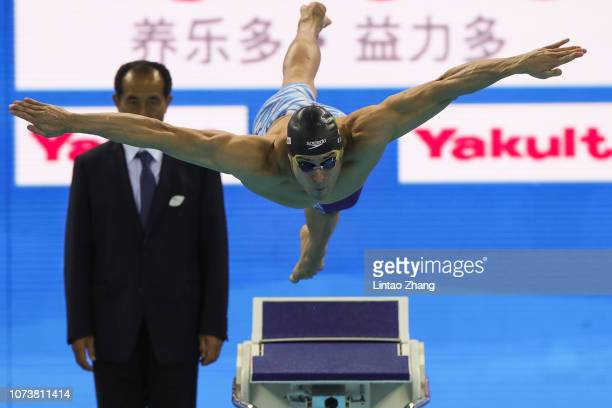 Nicholas Santos of of Brazil competes in the Men's 50m ButterflyFinal on day 5 of the 14th FINA World Swimming Championships at Hangzhou Olympic...