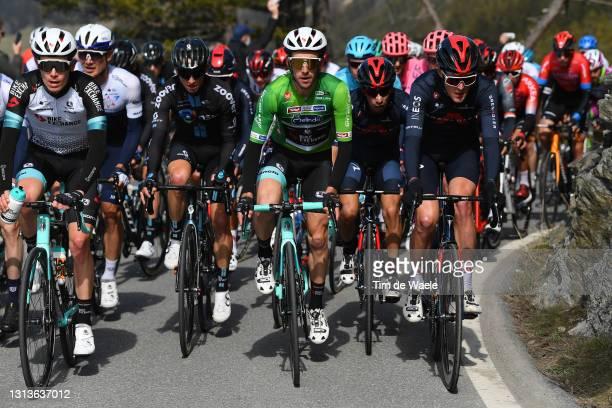 Nicholas Schultz of Australia and Team BikeExchange, Simon Yates of United Kingdom and Team BikeExchange green leader jersey, Ivan Ramiro Sosa Cuervo...