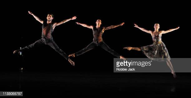 Nicholas Shikkis, Joshua Harriette and Elly Braund in Richard Alston's Brahms Hungarian at Sadlers Wells Theatre on February 27, 2019 in London,...