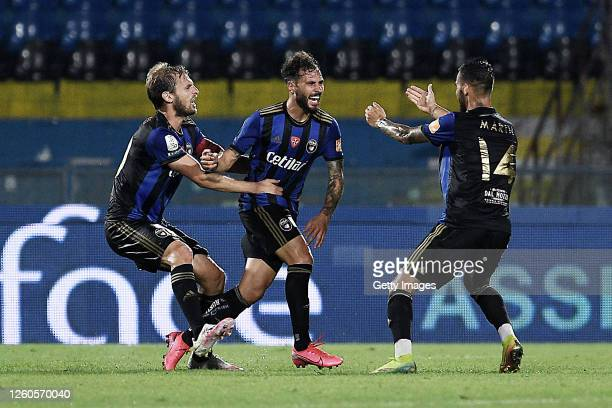 Nicholas Siega of Pisa SC celebrates after scoring his team's first goal during the serie B match between SC Pisa and Ascoli Calcio at Arena...