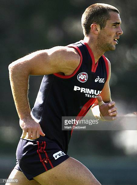 Nicholas Smith of the Demons leads for the ball during the Melbourne Football Clubs training session at the Junction Oval on September 11, 2006 in...
