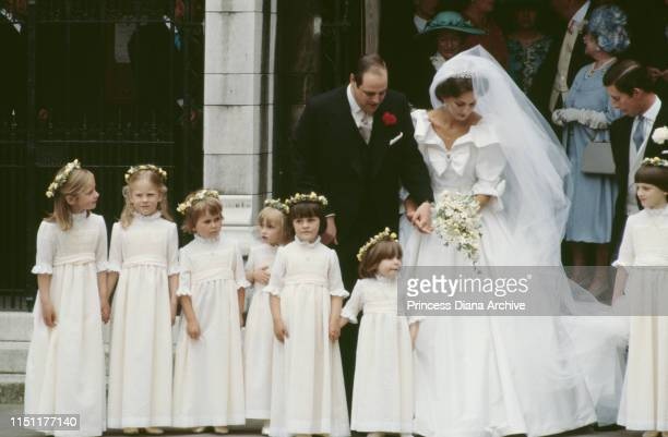 Nicholas Soames and Catherine Weatherall pose with their bridesmaids during their wedding at St Margaret's Church in London 4th June 1981