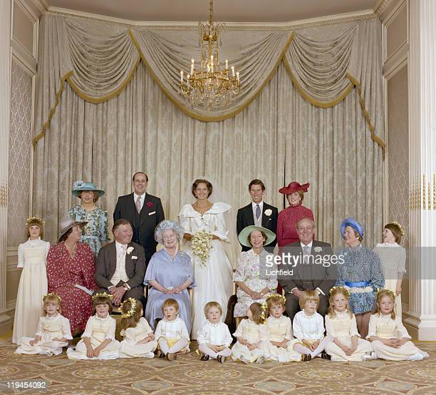Nicholas Soames wedding group Catherine Weatherall Prince of Wales and Lady Diana Spencer Queen Elizabeth the Queen Mother Princess Margaret Lord and...