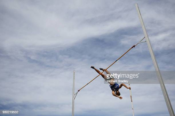 Nicholas Southgate from Auckland competes in the Mens Pole Vault during the New Zealand Track Field Championships on March 11 2018 in Hamilton New...