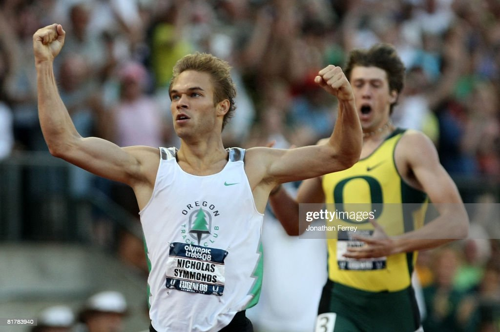 Nicholas Symmonds celebrates as he crosses the finish line ahead of Andrew Wheating to win the gold in the men's 800 meter final during day four of the U.S. Track and Field Olympic Trials at Hayward Field on June 30, 2008 in Eugene, Oregon.