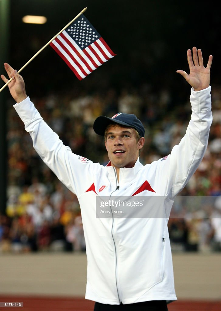 Nicholas Symmonds celebrates winning the gold in the men's 800 meter final during day four of the U.S. Track and Field Olympic Trials at Hayward Field on June 30, 2008 in Eugene, Oregon.