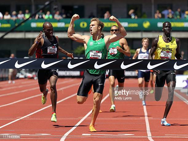 Nicholas Symmonds clelebrates as he wins the Men's 800 meter during the 2011 USA Outdoor Track Field Championships at Hayward Field on June 26 2011...