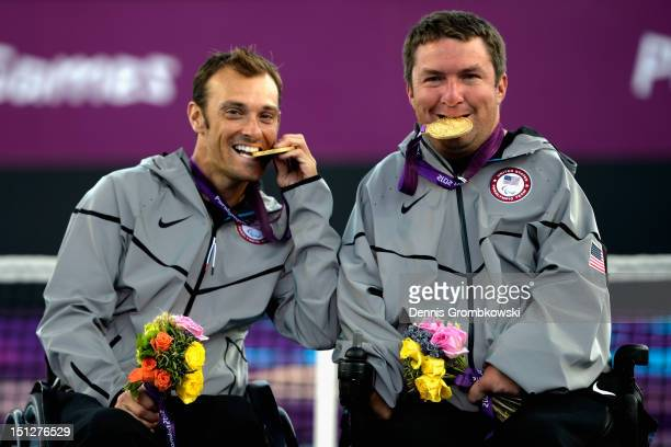 Nicholas Taylor of the United States and teammate David Wagner celebrates after the Quad Doubles Wheelchair Tennis Gold Medal match on day 7 of the...