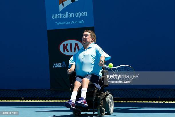 Nicholas Taylor of the United States of America plays a forehand in his Quad Wheelchair Singles match against Andrew Lapthorne of Great Britain...