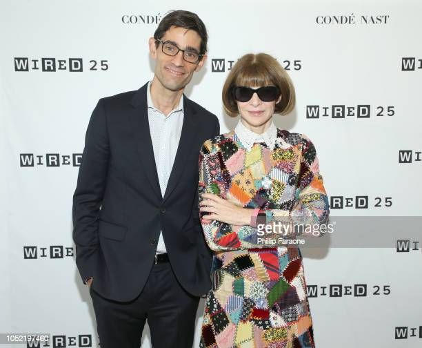 Nicholas Thompson and Anna Wintour attend WIRED25 Summit WIRED Celebrates 25th Anniversary With Tech Icons Of The Past Future on October 15 2018 in...